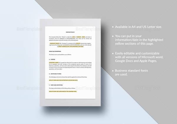 company policy templat