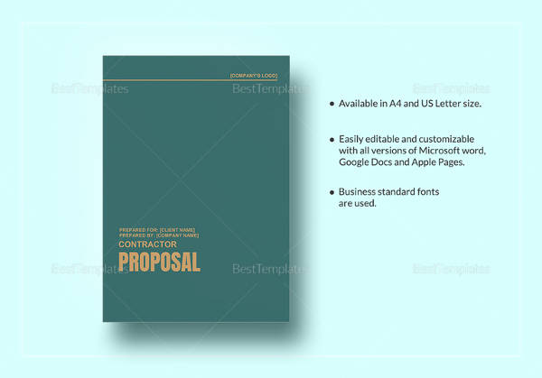 sample contractor proposal 13 documents in pdf word