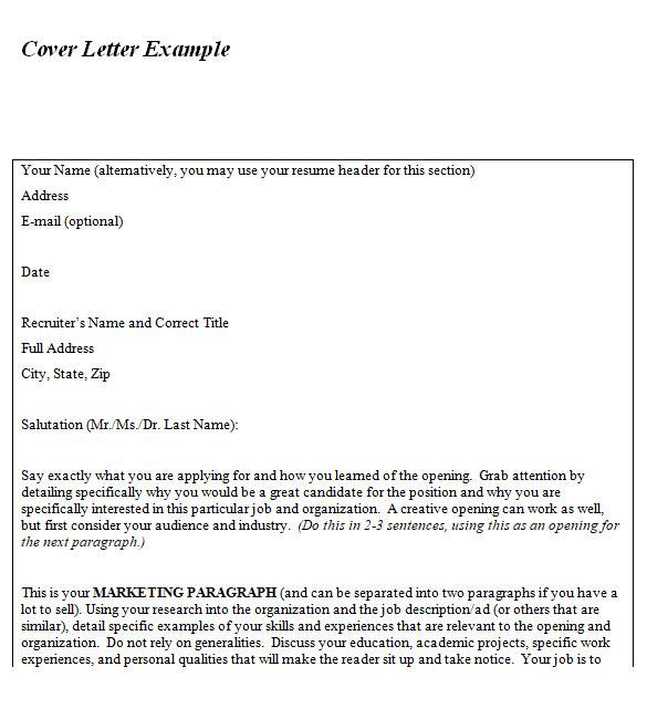 cover letter sample in ms word