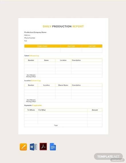 daily production template