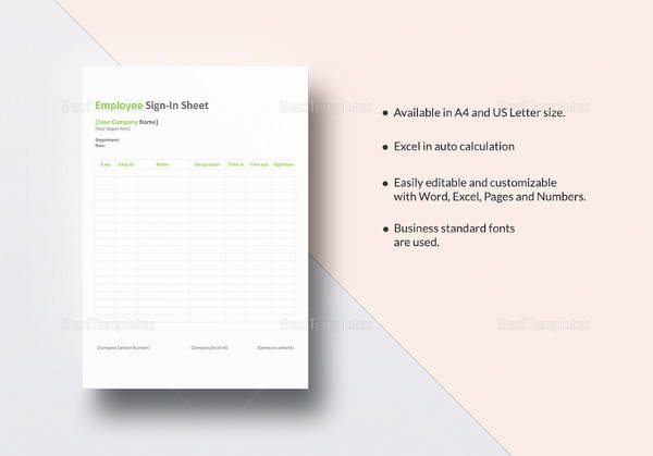 easy to print employee sign in sheet template