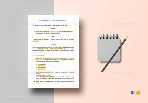 editable agreement to extend debt payment template