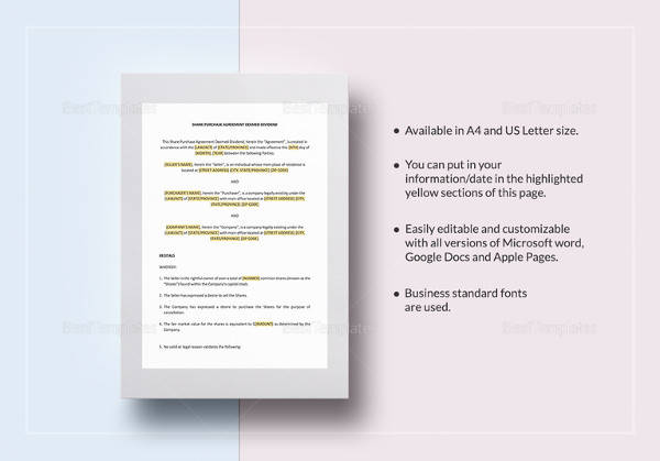 editable share purchase agreement deemed dividend template