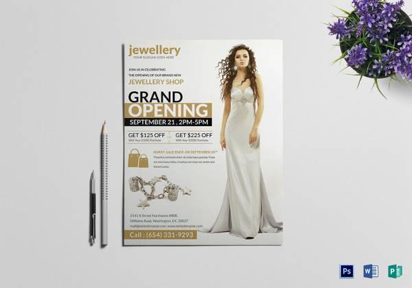 elegant jewellery grand opening flyer template