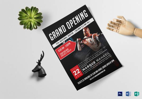 fitness gym grand opening flyer template