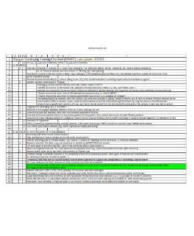 general training checklist