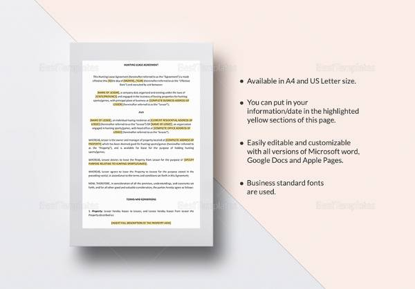 hunting lease agreement template1