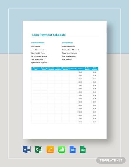 loan payment schedule template1