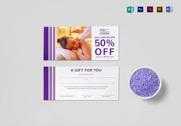 massage gift certificate template in indesign