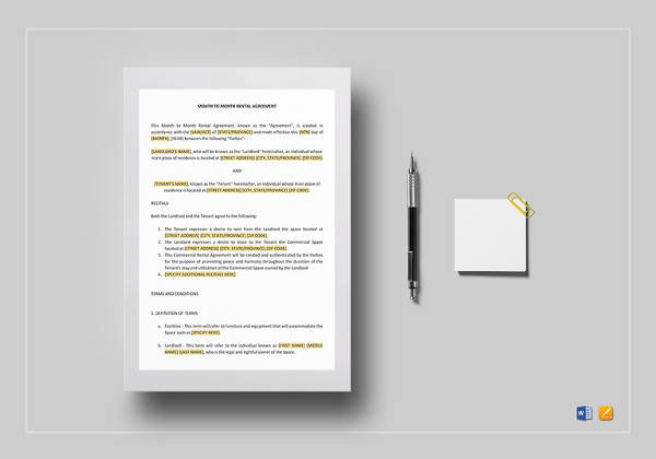 month to month rental agreement word template