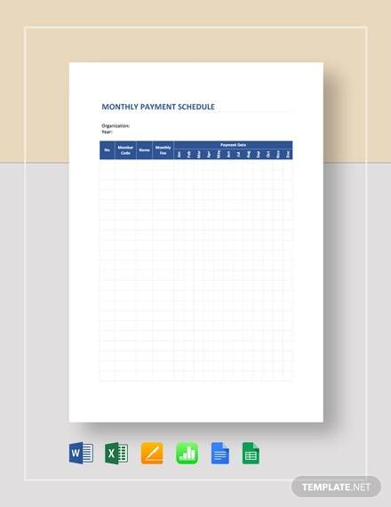monthly payment schedule template1