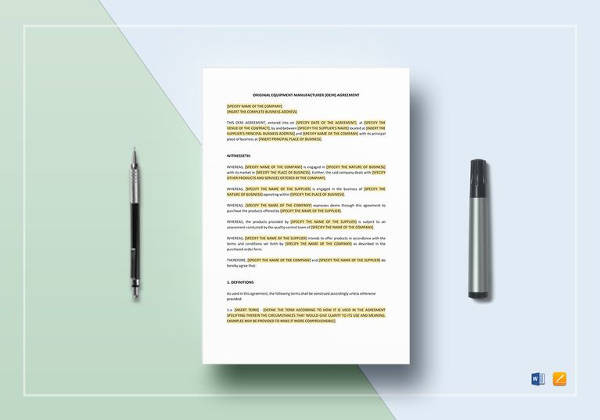 oem agreement template in word