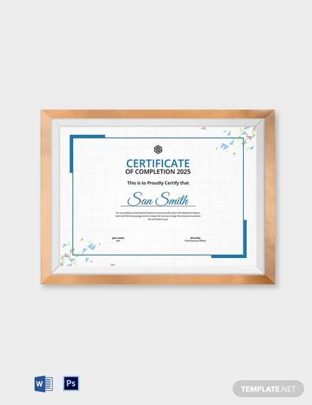 official certificate of completion template