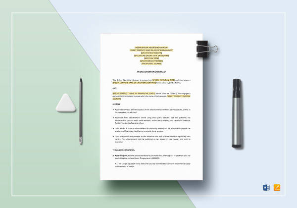 online advertising contract template to edit