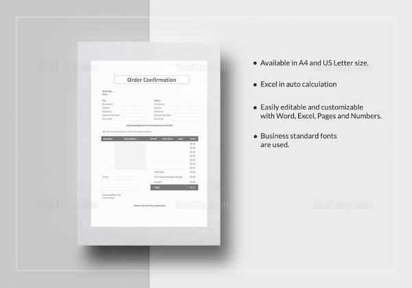 order confirmation template to print
