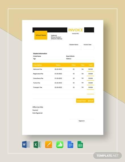 preschool education invoice template