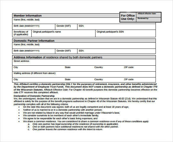 printable domestic partnership agreement