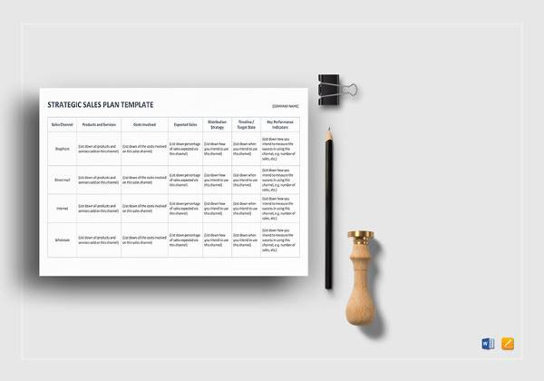 printable strategic sales plan template