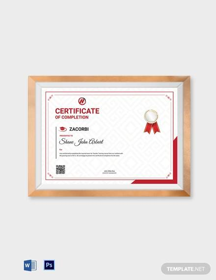 professional course completion certificate template