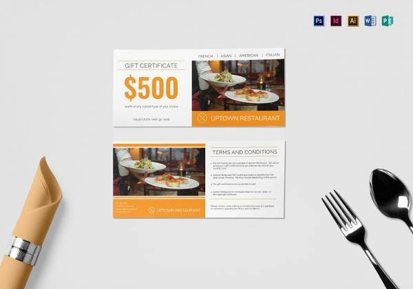 restaurant gift certificate template to print