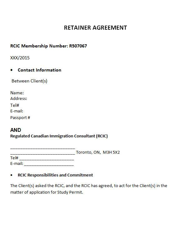 retainer agreement template in ms word