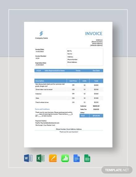 estimate invoice sample