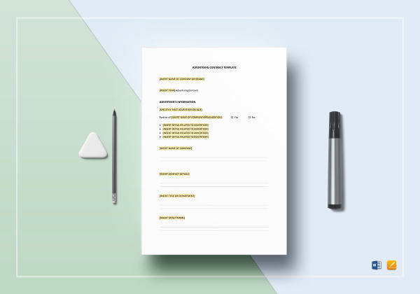 sample advertising contract template
