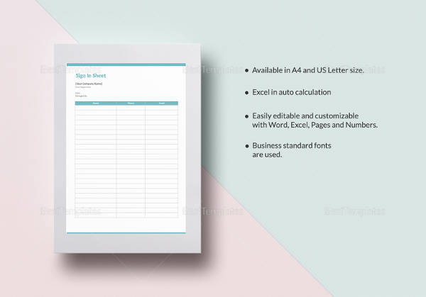 sample blank sign in sheet template