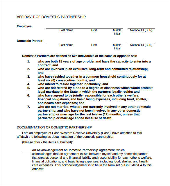 sample domestic partnership agreement