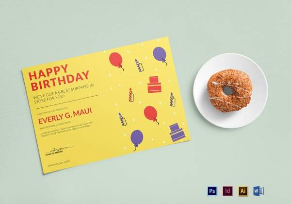 simple birthday gift certificate template