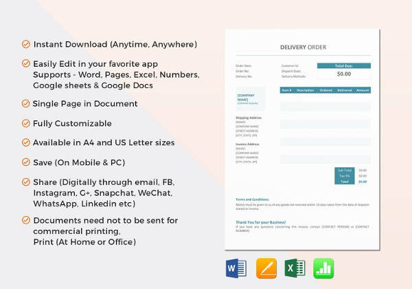 Simple Delivery Order Word Template  Delivery Order Form Template