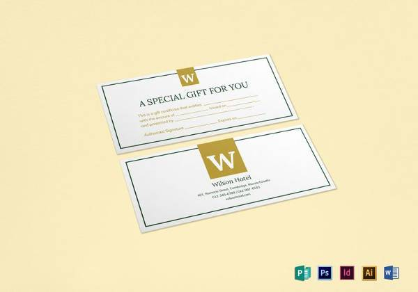 simple hotel gift certificate template