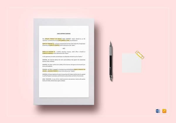 simple sales contract template