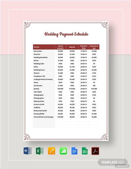 wedding payment schedule template