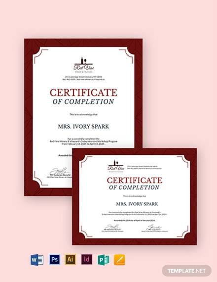 workshop completion certificate template