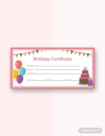 free birthday certificate