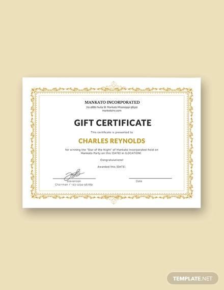 free fancy gift certificate