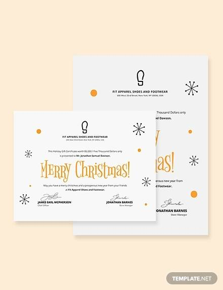 simple christmas gift certificate