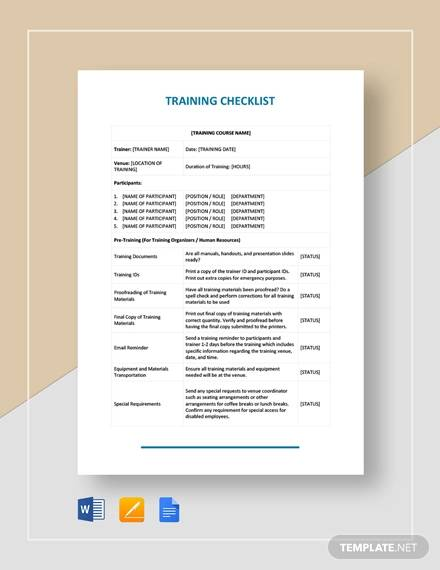 training checklist
