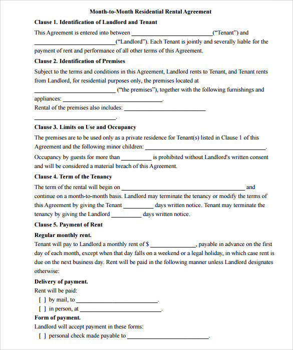 Month To Month Rental Agreement  Download Free Documents In Pdf