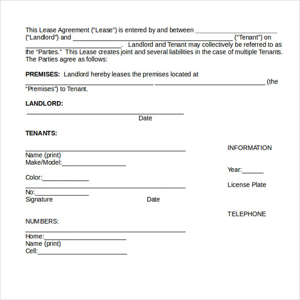 month to month rental agreement