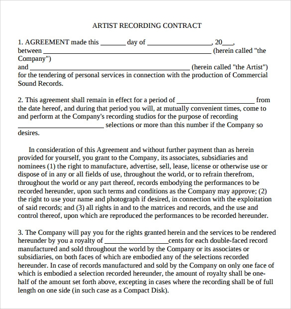 8 Artist Contract Templates Pages Word Docs