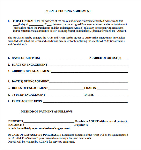 Artist Contract Templates   Download Free Documents In Pdf