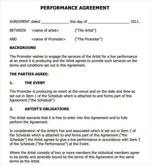 Artist Contract Templates 9 Download Free Documents In PDF – Performance Contract Template