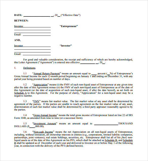 Personal Investment Contract Template  Investor Contract Template Free