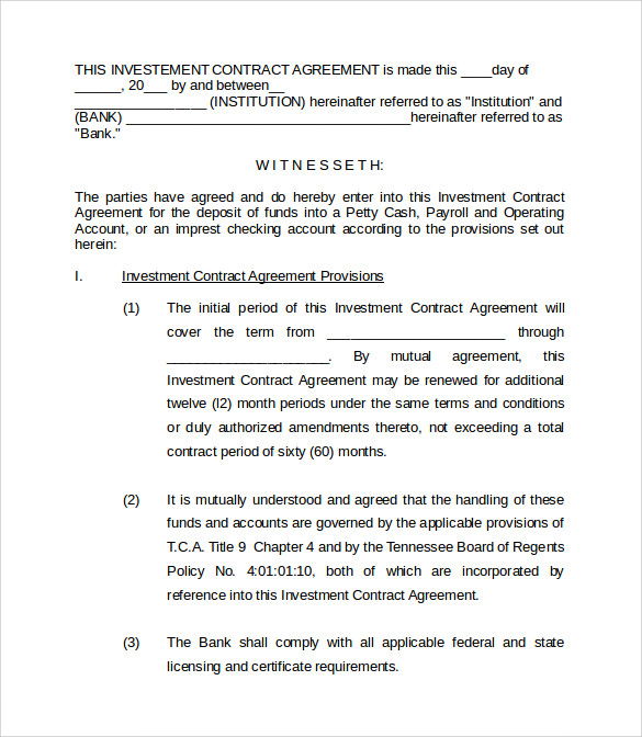 Banking Investment Contract Template With Investors Contract Agreement