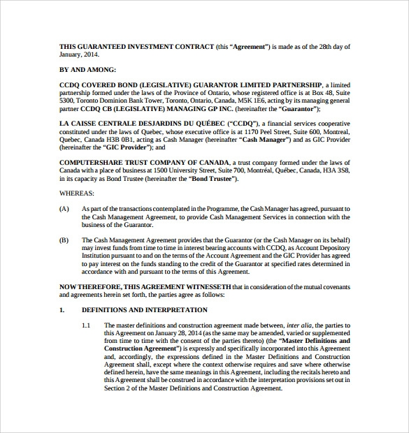 Investment Contract Templates 8 Download Free documents in PDF – Business Investment Agreement