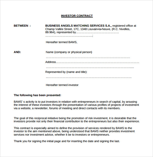 Investment Contract Templates 8 Download Free Documents