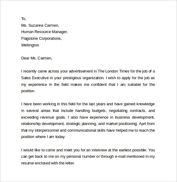 sample sales cover letter template