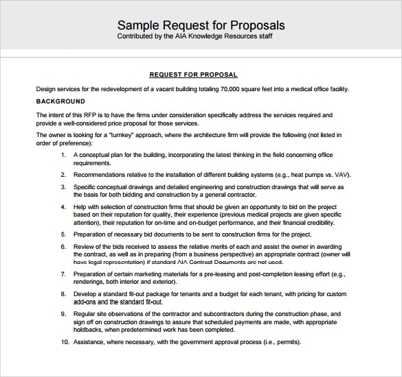 Sample Contractor Proposal   Documents In Pdf  Word